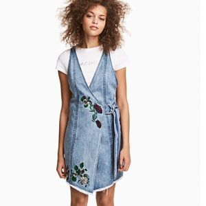 Coachella by H&M embroidered jean wrap dress